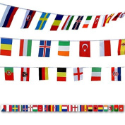 G2PLUS Flag Bunting 50 M World Flags Bunting with 200 Different National Flags 14CM * 21CM for Football Rugby Fans Presentation Event