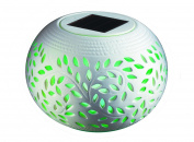 Vista Collection NY Ceramic Solar Table Light Lamp Decor with LED 6 Changing Colours