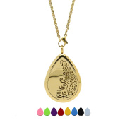 Aromatherapy Stainless Steel Pendant Locket Essential Oil Diffuser Necklace 316L Grade Waterdrop & Heart KOKO AROMA