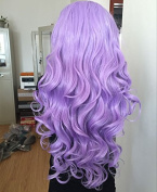 Heat resistant fibre hair mermaid purple body wave synthetic lace front wig for women half hand tied replacement hair wigs in stock