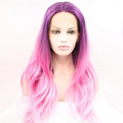 Natural straight mermaid ombre purple to pink synthetic lace front wig for women 2 tone heat resistant fibre hair