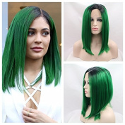 short green bob hair Synthetic lace front wig for women nature colour with heat resistant fibre darg queen African American black and white women
