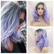 Synthetic lace front wig grey to purple for women short wig with heat resistant fibre mermaid darg queen African American black and white women
