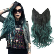 HairPhocas 50cm Green Omber Dip-dye Ombre Secret Hair Extensions Synthetic Curly Wave Hairpieces