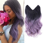 HairPhocas 50cm Black to Purple(Violet) Dip Dyed Coloured Secret Hair Extensions Synthetic Curly Wave Hairpieces