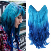 HairPhocas 50cm Light Blue to Dark Blue Ombre Colour Secret Hair Extensions Synthetic Curly Wave Hairpieces