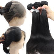 Atina Hair Pre Plucked 360 Lace Frontal Band With Bundles Brazilian Virgin Straight Human Hair Weave With 360 Frontal Band Closure With Baby hair