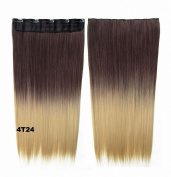 FESHFEN 60cm Long Straight Ombre Two Tone Synthetic Hair Extensions Clip in on Hairpieces 5 Clips One Piece 3/4 Full Head Cosplay Party Style for Women Xmas Gifts Medium Brown to Pale Golden Blond