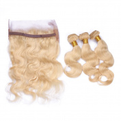 Tony beauty hair Blonde #613 Hair Bundles With 360 Lace Band Frontal 13x4x2 Body Wave 3 Bundles With Hair Weaves With 360 Lace Band Frontal 8-30 Inch