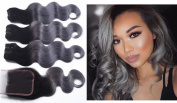 7A Ombre Brazilian Hair Weave 3/4 Bundles with Closure Ombre Weave Brazilian Virgin Hair Body Wave With Lace Closure Dark Grey -14 14 16+30cm