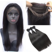 ZM Hair Natural Black Colour Human Hair Straight 360 Free Part Lace Band Frontal Closure with 3 Bundles