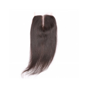 Free Part 4x 4 Straight Lace Colsure with Baby Hair Brazilian Virgin Human Hair Natural Colour Bleached Knots