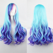 Kuulee Women's Multi-colour Full Wig Long Curly Hair Heat Resistant Wigs Harajuku Style Hair Wigs Costume Wigs for Cosplay/Party Lolita