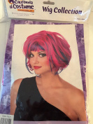 Hot Pink with Blue Streaks Party Girl Costume Wig