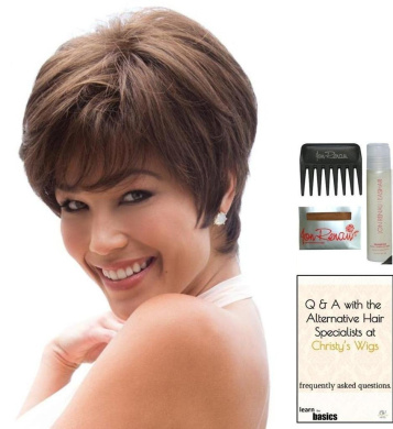 MEGAN by Noriko Wig, 15 Page Christy's Wigs Q & A Booklet, Wig Shampoo, Wig Cap & Wide Tooth Comb - Colour: MARBLE BROWN
