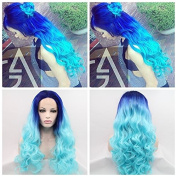 ombre blue to light blue Synthetic lace front mermaid wig for women body wave with heat resistant fibre darg queen African American black and white women