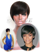 Exvogue Short Cut Celebrity Human Hair Wigs for Women Natural Straight Darkest Brown Brazilian Remy Non Lace Glueless Wig with Crown Skin Part