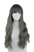 EpicCosplay Iris Gunmetal Grey Long Wavy Wigs