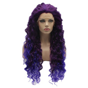 Lushy .  Long Curly Two Tone Ombre Purple Root To Light Purple Colour Wigs Half Hand Tied Heat Friendly Synthetic Hair Lace Front Women Natural Wigs