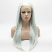 Lushy Charming Straight Long Silky Three Tone White Light Blue Mix Colour Wigs Half Hand Tied Heat Friendly Heavy Density Synthetic Hair Lace Front Women Wigs