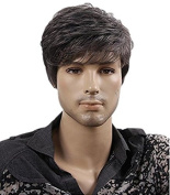 Diy-Wig Fashionable Short Mixed Grey Black Natural Synthetic Wigs for Men