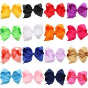 16PCS Girls Solid Ribbon Hair Bows HairClip Hairpin Baby Hair Accessories
