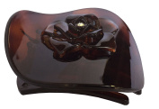 Parcelona French Onde Crystal Flower Shell Brown Celluloid Side Slide in Beak Style Hair Slider Claw Clip 7cm