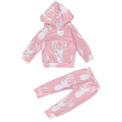 Efaster Newborn Infant Baby Boy Girl Deer Print Hoodie Tops+Pant Outfits Clothes