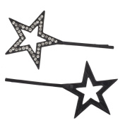 Lux Accessories Jet Black Pave Rhinestones Celestial Stars Bobby Pin Set