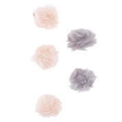Lux Accessories Pink and Grey Furry Pom Pom Hair Clips