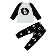 Efaster Toddler Infant Baby Boy Girl Printing Clothes T-shirt+Long Pants Outfits