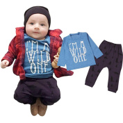 Efaster Infant Baby Boys Girls Letter Print T-shirt Tops+Pants Outfits Clothes