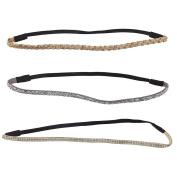 Lux Accessories Glitter Sticker Stone Stretch Headband Headwrap Set