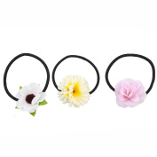 Lux Accessories Fabric Assorted Floral Flower Elastic Pony Tail Holders
