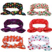 6PCS Newest Cat Ear Bebe Baby Girl Headbands Turban Bandana Scarf Hair Band Infant Toddlers HeadWrap Hair Accessories
