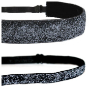 Mavi Bandz Adjustable Non-Slip Fitness Headbands Charcoal Sparkle Glitter 2 Pack