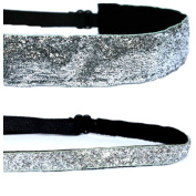 Mavi Bandz Adjustable Non-Slip Fitness Headbands Silver Sparkle Glitter 2 Pack