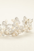 Pave Scroll Cultured Pearl Headband Style T9087, Ivory