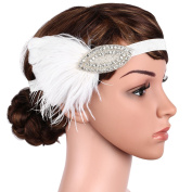 Babeyond Women's Feather Headbands for Women Feather Headband Flapper Gatsby Bridal Hair Accessories Leaf Style