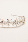 Thin Floral Pearl Headband Style H9101, Silver