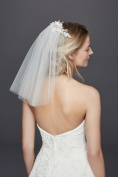Short Veil with Lace Fabric Flowers Style V688, White