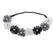 Lux Accessories White Grey Black Crystal Stone Floral Elastic Headwrap Headband
