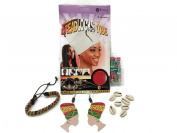 King.J Cotton Spandex Dreadlocks Tube, Head Wrap Earrings, Multi-Colour Metal Hair Cuffs, Sea Shell Hair Beads & Drawstring Bracelet Bundle (5 items) -