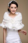 CIMC LLC Women's Luxury Wedding High-end Faux Fur Hollow Lace Wedding Bridal Shawl Wrap Bridal Shrug Formal Party Bolero