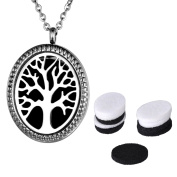 VALYRIA Aromatherapy Perfume Essential Oil Diffuser Necklace- Tree of Life Oval Locket Pendant