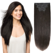 50cm Clip on Extensions Human Hair Clip ins Real Hair Extensions Off Black #1B 8pieces 120grams120ml