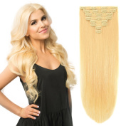 50cm Clip on Extensions Human Hair Clip ins Real Hair Extensions Bleach Blonde #613 8pieces 120grams120ml