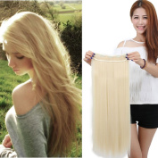 Sexybaby 70cm Straight Clip in Synthetic Hairpieces Extensions Half Head One Piece Set Bleach Blonde Cyber Monday