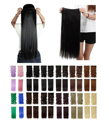 60cm Long Straight NATURAL BLACK 3/4 Full Head One Piece Clip in Hair Extensions 5 Clips 60cm 140G