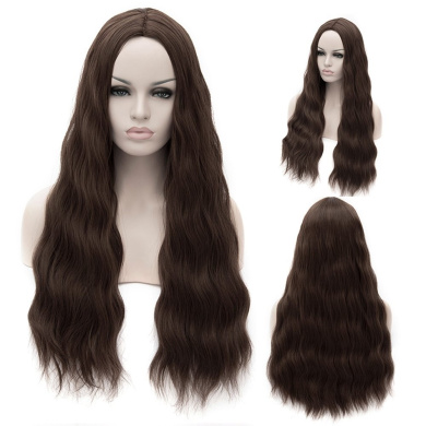 Women's 80cm Central Parting Haircut Long wave Heat Resistent Hair Synthetic Wig (Dark Brown)